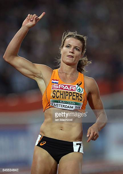 Dafne Schippers of The Netherlands celebrates winning gold in the final of the womens 100m on day three of The 23rd European Athletics Championships...