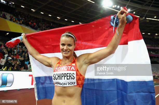 Dafne Schippers of the Netherlands celebrates winning silver in the Women's 100 Metres Final during day three of the 16th IAAF World Athletics...