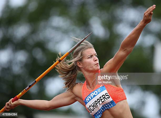 Dafne Schippers of the Netherlands competes in the Javelin during the women's heptathlon during the Hypomeeting Gotzis 2015 at the Mosle Stadiom on...