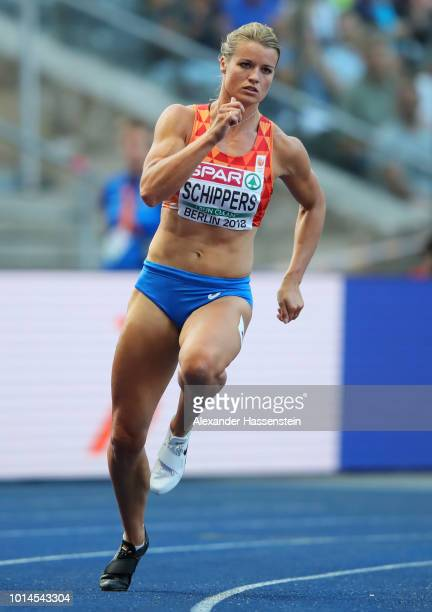 Dafne Schippers of the Netherlands competes in the Women's 200m Semi Final during day four of the 24th European Athletics Championships at...
