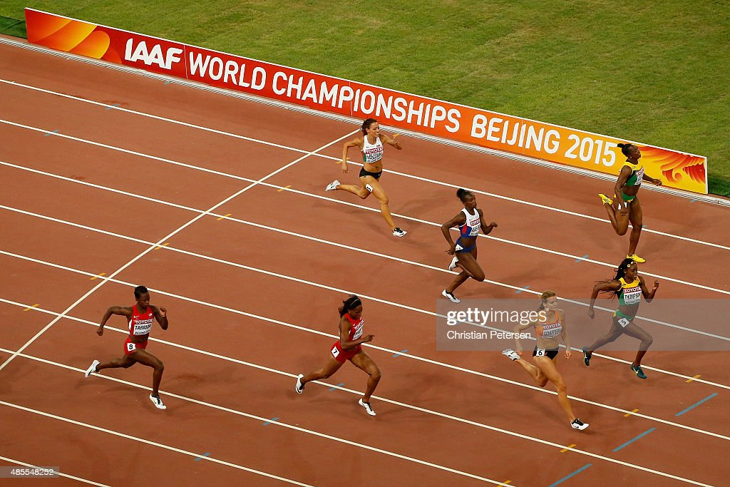 Dafne Schippers of the Netherlands (3rd R) crosses the finish line to win gold in the Women's 200 metres final ahead of second placed Elaine Thompson of Jamaica (2nd R) during day seven of the 15th IAAF World Athletics Championships Beijing 2015 at Beijing National Stadium on August 28, 2015 in Beijing, China.