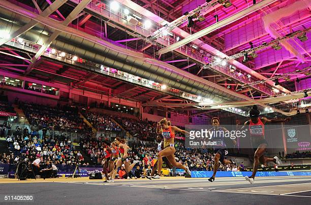 Dafne Schippers of the Netherlands crosses to the line to win the Women's 60 metres final during the Glasgow Indoor Grand Prix at Emirates Arena on...