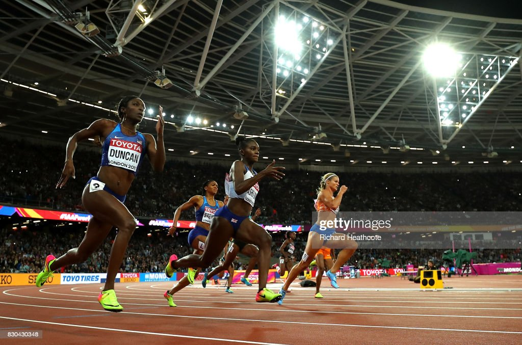 Dafne Schippers of the Netherlands, Dina Asher-Smith of Great Britain and Kimberlyn Duncan of the United States compete in the Women's 200 metres final during day eight of the 16th IAAF World Athletics Championships London 2017 at The London Stadium on August 11, 2017 in London, United Kingdom.