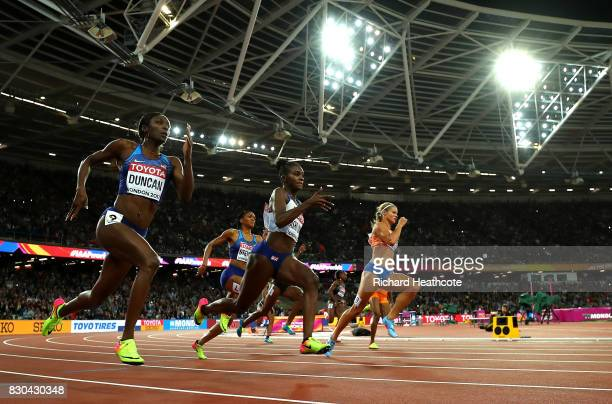 Dafne Schippers of the Netherlands Dina AsherSmith of Great Britain and Kimberlyn Duncan of the United States compete in the Women's 200 metres final...