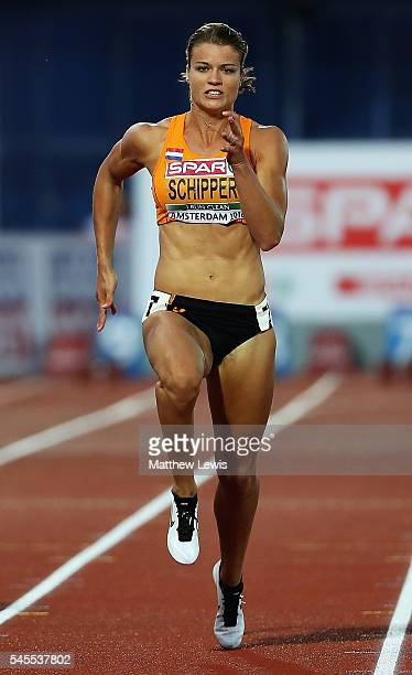 Dafne Schippers of the Netherlands in action during the Womens 100m Final during day three of the 23rd European Athletics Championships at Olympic...