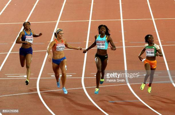 Dafne Schippers of the Netherlands, Marie-Josee Ta Lou of the Ivory Coast and Shaunae Miller-Uibo of the Bahamas and Deajah Stevens of the United...