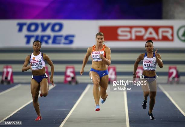 Dafne Schippers of the Netherlands on her way to winning the Womens 60m Semi Final during the European Athletics Indoor Championships Day Two at the...