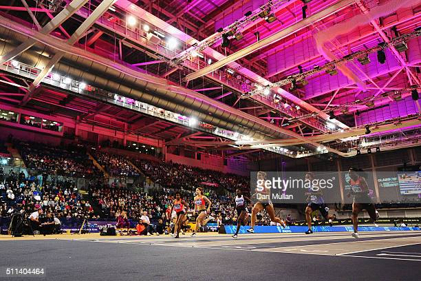 Dafne Schippers of the Netherlands races to the line to win the Women's 60 metres final during the Glasgow Indoor Grand Prix at Emirates Arena on...