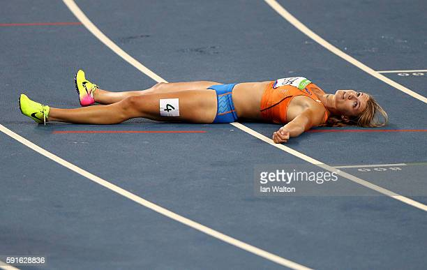 Dafne Schippers of the Netherlands reacts after winning the silver medal in the Women's 200m Final on Day 12 of the Rio 2016 Olympic Games at the...