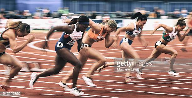 Dafne Schippers of the Netherlands starts the Womens 100m Semi Final during day three of the 23rd European Athletics Championships at Olympic Stadium...