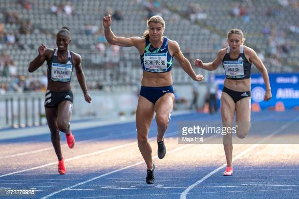 Dafne Schippers of the Netherlands wins 100m Women next to Rebekka Haase of Germany and Lisa Marie Kwayie of Germany during the ISTAF 2020 athletics...