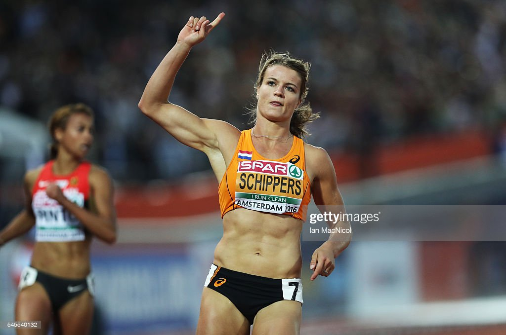 Dafney Schippers of Netherlands wins the Women's 100m during the Women's Heptathlon during Day Three of The European Athletics Championships at Olympic Stadium on July 8, 2016 in Amsterdam, Netherlands.