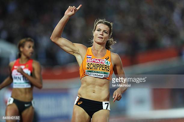Dafney Schippers of Netherlands wins the Women's 100m during the Women's Heptathlon during Day Three of The European Athletics Championships at...