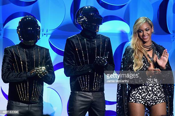 Daft Punk and Beyonce onstage at the Tidal launch event #TIDALforALL at Skylight at Moynihan Station on March 30 2015 in New York City