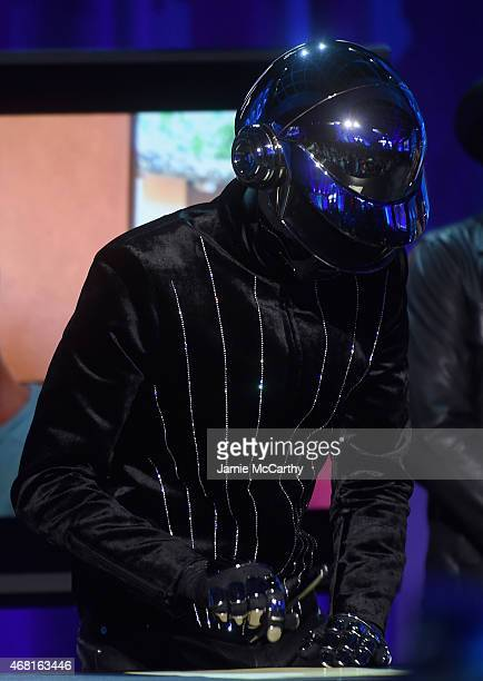 Daft Punk onstage at the Tidal launch event #TIDALforALL at Skylight at Moynihan Station on March 30 2015 in New York City