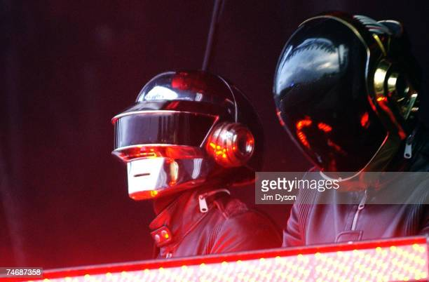Daft Punk perform on the main stage during Day Three of the O2 Wireless Festival in Hyde Park on June 16 2007 in London England