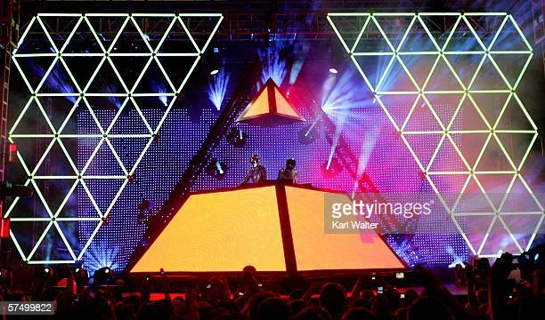 Daft Punk performs at the Coachella Music Fesival on April 29, 2006 in Indio, California.