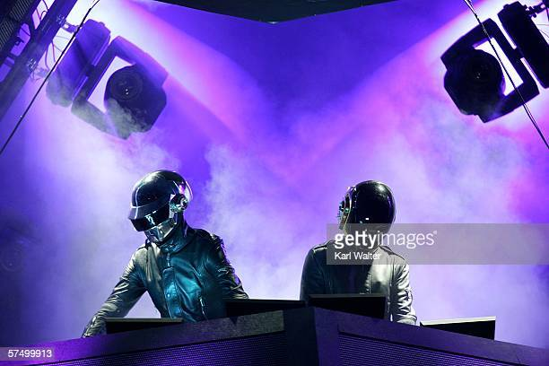 Daft Punk performs at the Coachella Music Fesival on April 29 2006 in Indio California