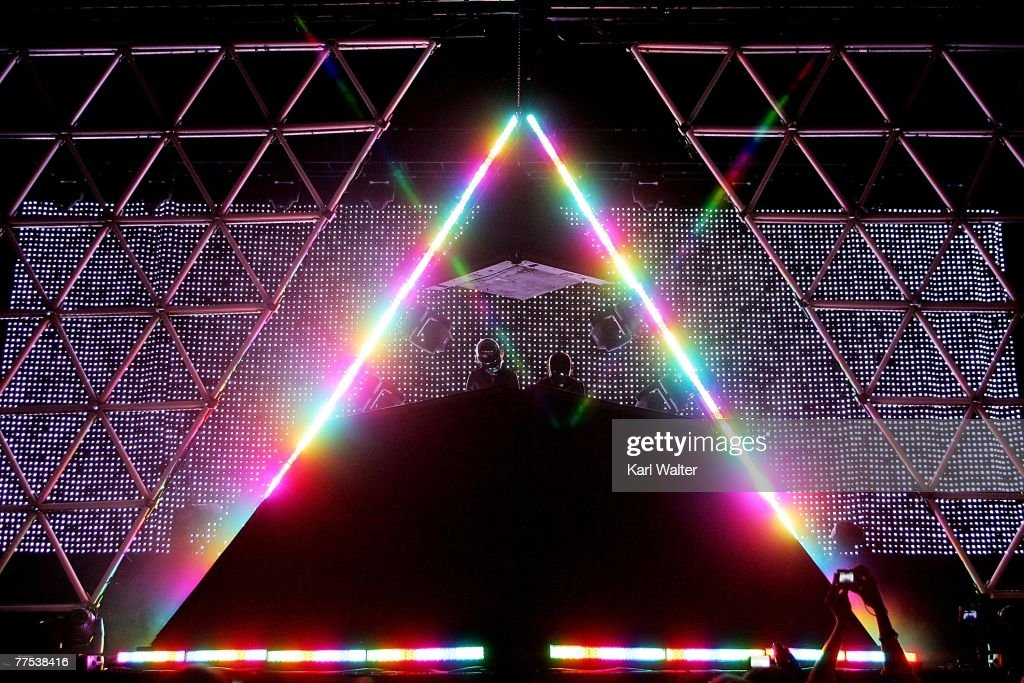 Daft Punk performs during the Vegoose music festival at Sam Boyd Stadium's Star Nursery Field October 27, 2007 in Las Vegas, Nevada.