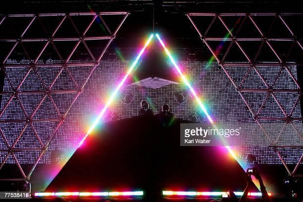 Daft Punk performs during the Vegoose music festival at Sam Boyd Stadium's Star Nursery Field October 27 2007 in Las Vegas Nevada