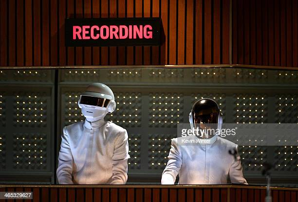 Daft Punk performs onstage during the 56th GRAMMY Awards at Staples Center on January 26 2014 in Los Angeles California