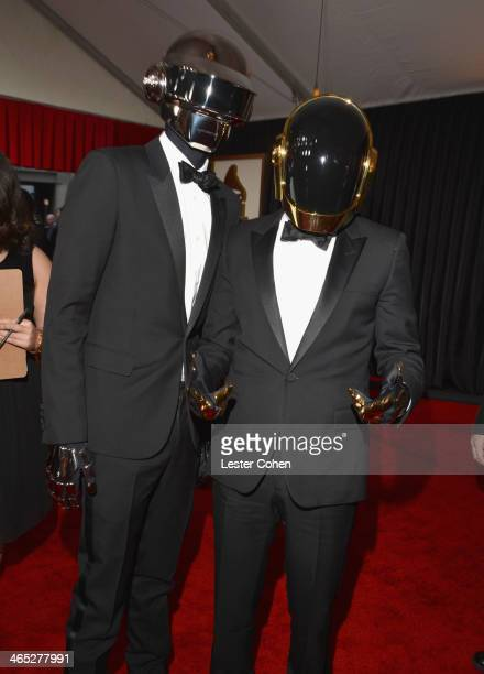 Daft Punk Thomas Bangalter and GuyManuel de HomemChristo attend the 56th GRAMMY Awards at Staples Center on January 26 2014 in Los Angeles California
