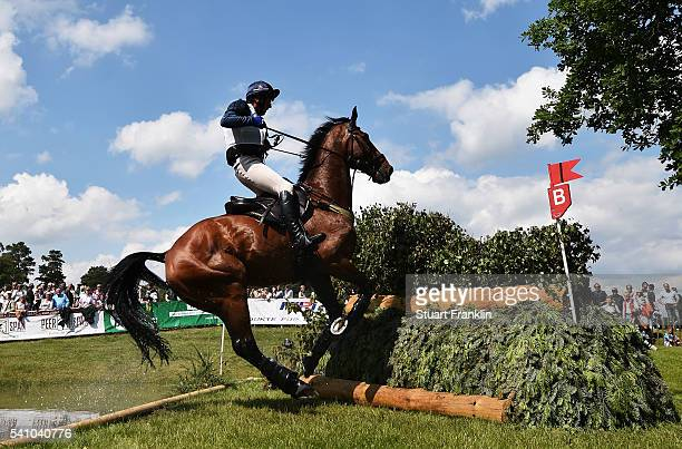 Dag Albert of Sweden riding Mitras Eminem jump during the cross country section of the Messmer Trophy Luhmuhlen on June 18 2016 in Luhmuhlen Germany