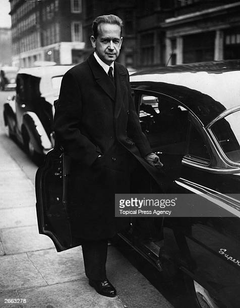 Dag Hammarskjoeld the Secretary General of the United Nations leaving Claridges Hotel in London on his way to the Foreign Office. Original...