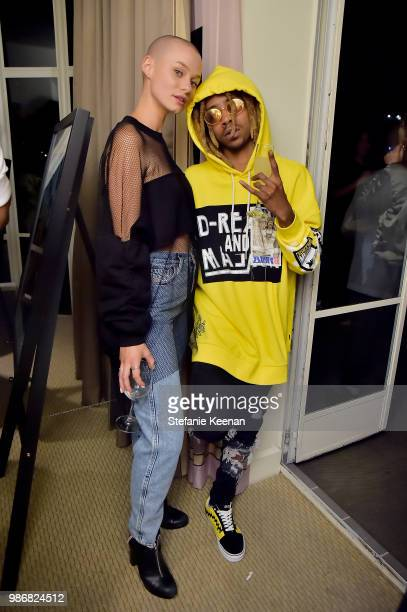 Dagen Howard and Lil Twist attend Diesel Presents Scott Lipps Photography Exhibition 'Rocks Not Dead' at Sunset Tower on June 28 2018 in Los Angeles...