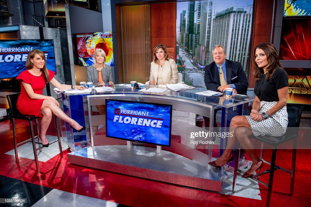Dagen McDowell, Liz Peek, Maria Bartiromo, Robert Wolf and Bethenny Frankel as Bethenny Frankel visits Fox Business Network at Fox Business Network to discuss Hurricane Florence Studios on September 14, 2018 in New York City.