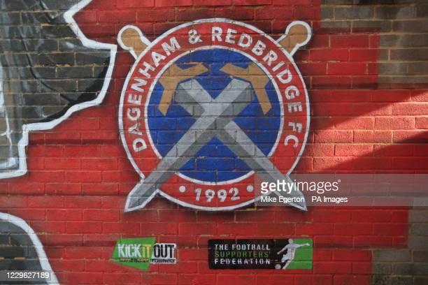 Dagenham and Redbridge logo mural during the FA Women's Super League match at Chigwell Construction Stadium, Dagenham.