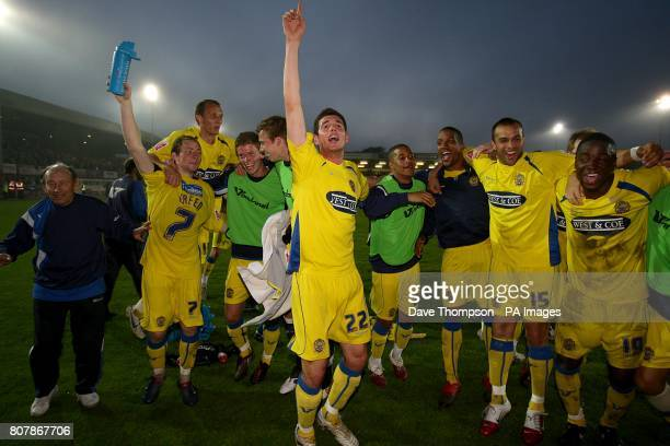 Dagenham and Redbridge players celebrates after the final whistle