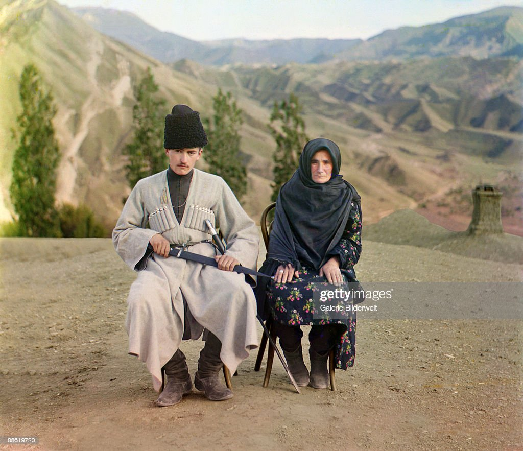 A Dagestani man and woman in traditional dress, Caucasus Mountains, Russian Empire, circa 1910.