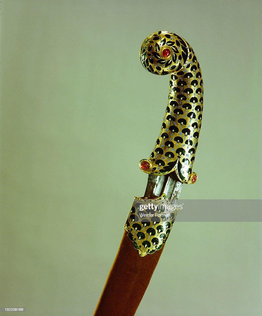 Dagger Khanjar Enamelled Gold Hilt With Lotus Leaf And Flower