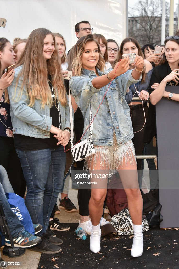 Dagi Bee arrives at the Echo Award 2018 at Messe Berlin on April 12, 2018 in Berlin, Germany.