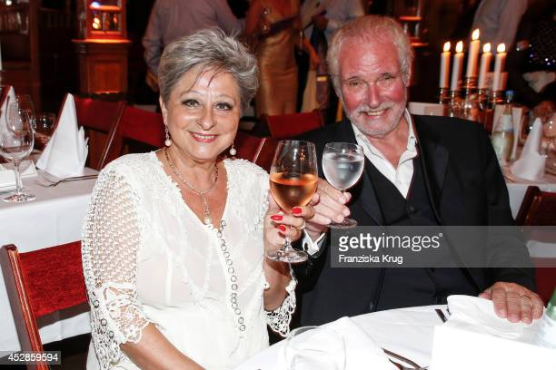 Dagmar Frederic and her husband Klaus Lenk attend Udo Walz's 70th Birthday celebration at BAR jeder Vernunft on July 28 2014 in Berlin Germany