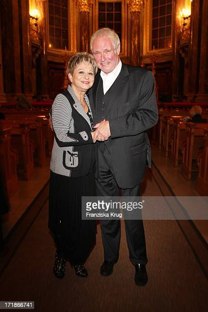 "Dagmar Frederic And Husband Dr. Klaus Lenk at the ""everyone"" Premiere In Berlin Cathedral in Berlin"