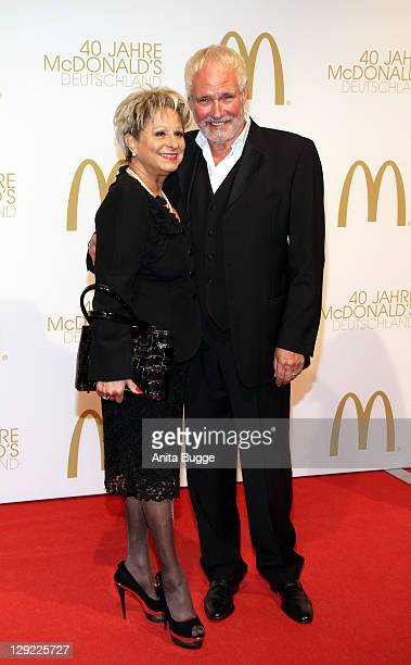 Dagmar Frederic and Klaus Lenk attend the 'McDonalds Germany Celebrates 40th Birthday Gala' at the Tempelhof airport Berlin on October 14 2011 in...