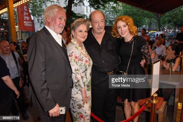 Dagmar Frederic with husband Klaus Lenk, Ralph Siegel and Laura Kaefer during the Ralph Siegel musical 'Zeppelin' performance in Berlin at...
