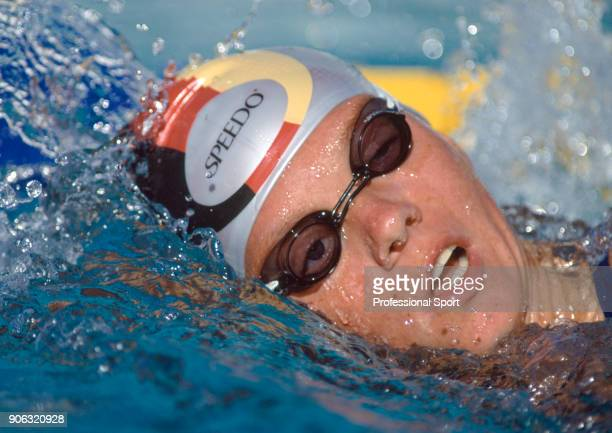Dagmar Hase of Germany silver medalist in the women's 200 metres backstroke in action during the World Aquatics Championships in Perth Australia...