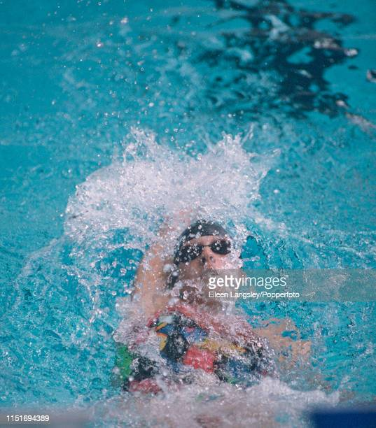 Dagmar Hase representing Germany in a backstroke event during the 1993 European Aquatics Championships at the Ponds Forge International Sports Centre...