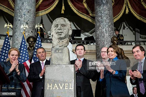 Dagmar Havlova, widow of Vaclav Havel, Speaker of the House John Boehner , Jan Hamacek, Chairman of the Chamber of Deputies of the Czech Parliament,...