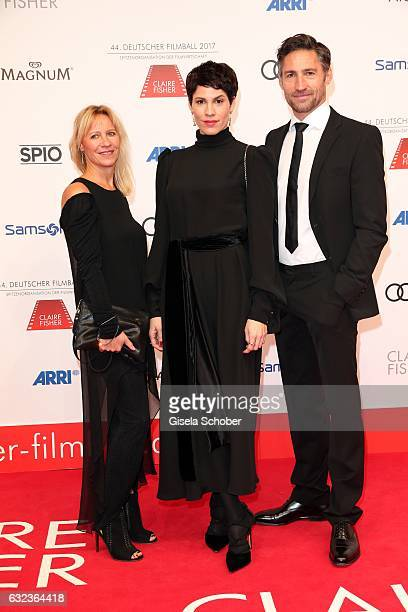 Dagmar Seume Jasmin Gerat and Benjamin Sadler during the 44th German Film Ball 2017 arrival at Hotel Bayerischer Hof on January 21 2017 in Munich...