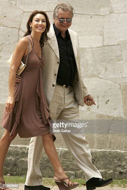 Dagmar Siegel and Karlheinz Koegel attend the wedding of German TV host Guenther Jauch on July 7 2006 in Potsdam Germany