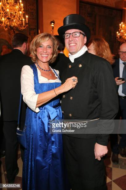 Dagmar Woehrl and chimney sweeper during the new year reception of the Bavarian state government at Residenz on January 12 2018 in Munich Germany