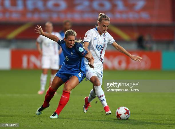 Dagny Brynjarsdottir of Iceland battles with Amandine Henry of France during the UEFA Women's Euro 2017 Group C match between France and Iceland at...