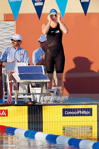 Dagny Knutson prepares for the 400 meter IM during the 2011 ConocoPhillips National Championships at Stanford University's Avery Aquatic Center on...