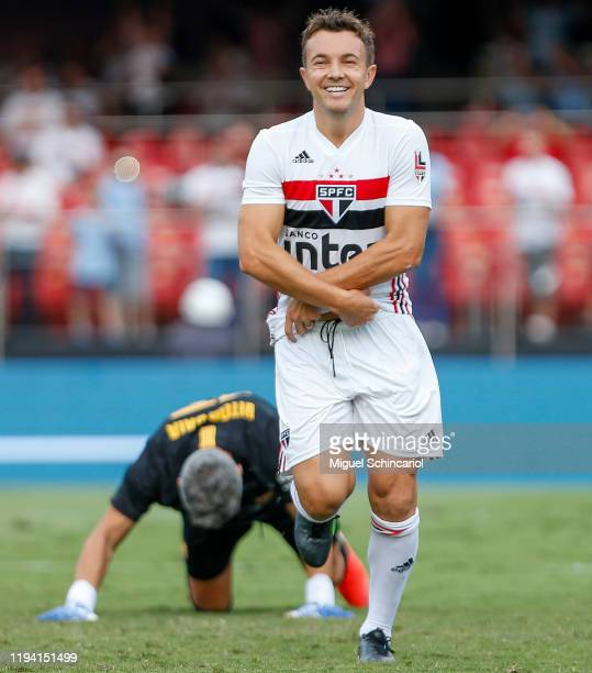 Dagoberto of of Sao Paulo FC celebrates his team first goal during a match Sao Paulo FC and Barcelona for the Legends Cup 2019 final football match...