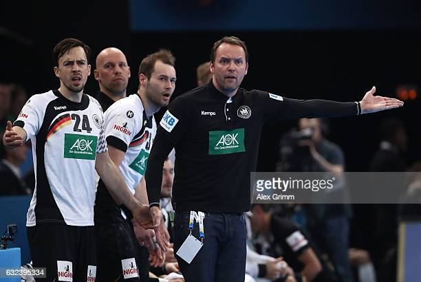 Dagur Sigurdsson head coach of Germany reacts during the 25th IHF Men's World Championship 2017 Round of 16 match between Germany and Qatar at...