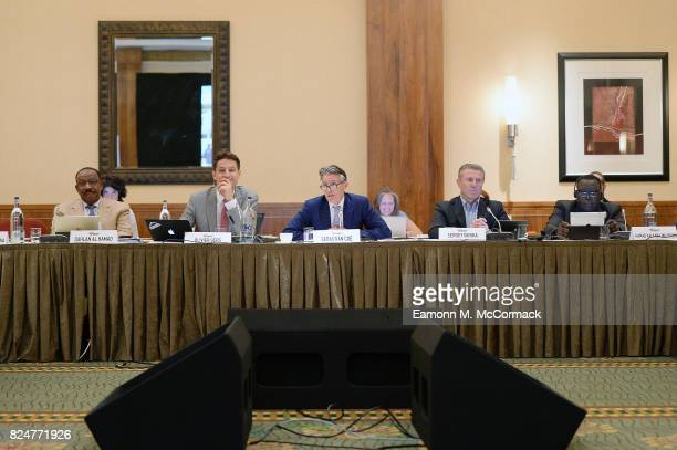 Dahlan Al Hamad Olivier Gers Sebastian Coe Sergey Bubka and Hamad Kalkaba Mal Boum during the 210th IAAF Council Meeting on July 31 2017 in London...